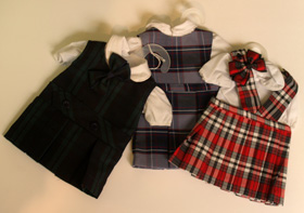 Luers Gifts and Accessories - doll clothing, jumpers and backpacks in school plaid colors in Springfield, IL, Central Illinois and nationwide.